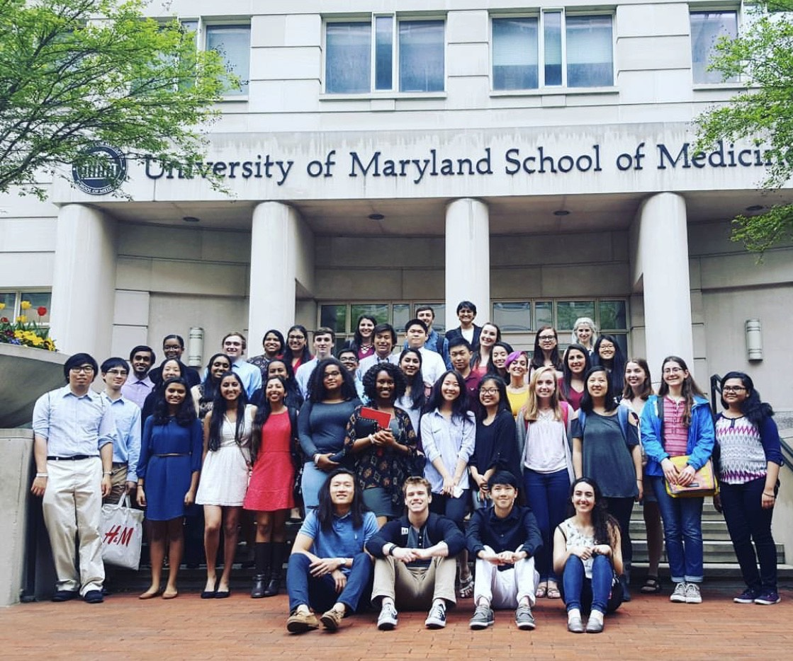 ILS students posing for picture in front of UMD's School of Medicine