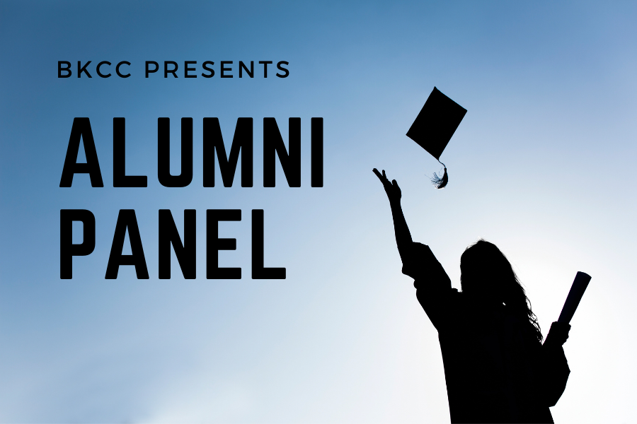 graduate throwing cap in air with words: BKCC presents Alum panel
